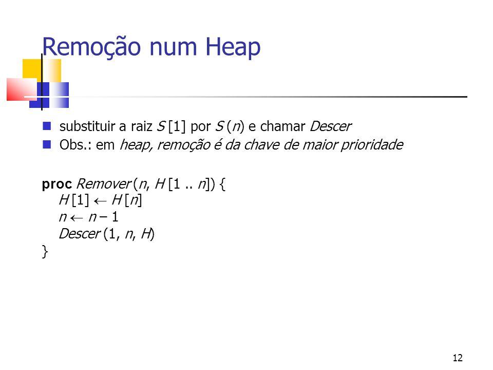 Remoção num Heap substituir a raiz S [1] por S (n) e chamar Descer